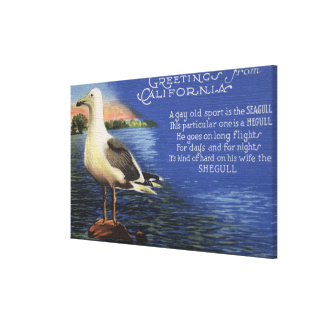 CaliforniaGreetings From, Seagull Poem Canvas Print
