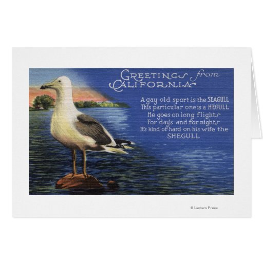 CaliforniaGreetings From, Seagull Poem Greeting Card