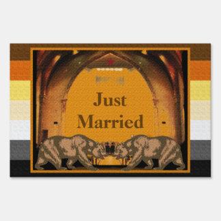 Californian Bear Gay Grooms Just Married Yard Sign