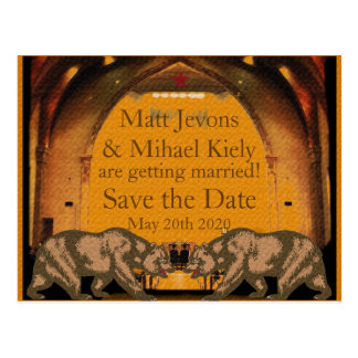 Californian Bear Gay Wedding Invitation for Grooms Postcard