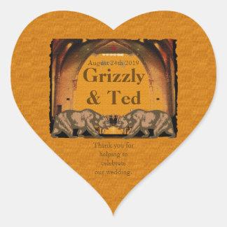 Californian Bears Gay Wedding Heart Sticker Favor