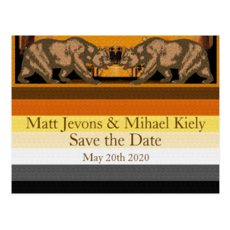 Californian Gay Bear Pride Wedding Announcement Postcard