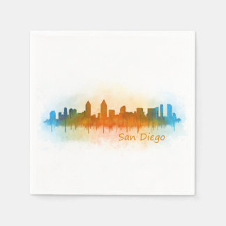 Californian San Diego City Skyline Watercolor v03 Paper Napkin