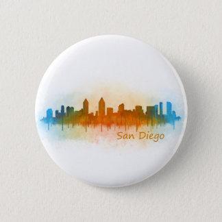 Californian San Diego City Skyline Watercolor v03 Pinback Button