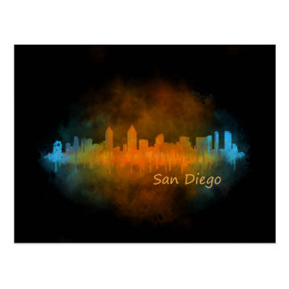 Californian San Diego City Skyline Watercolor v04 Postcard