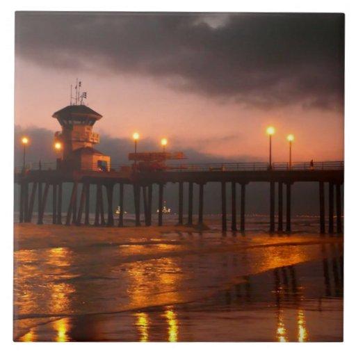 Californian Sunset - Huntington Beach Pier Tiles