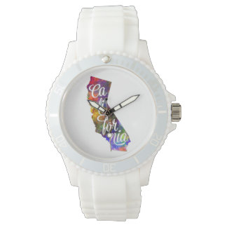 Californian U.S. State in watercolor text cut out Watches