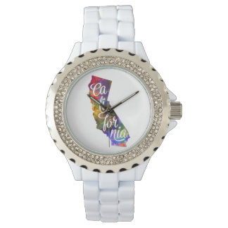 Californian U.S. State in watercolor text cut out Wristwatch
