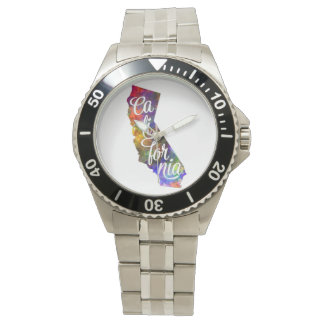 Californian U.S. State in watercolor text cut out Wristwatches