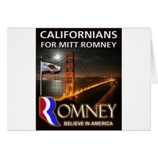 Californians for Mitt Romney 2012 Card