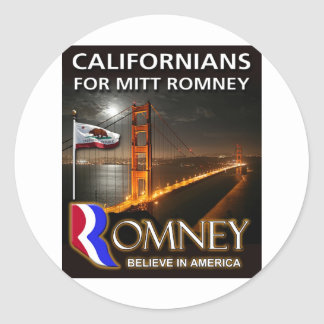 Californians for Mitt Romney 2012 Classic Round Sticker