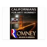 Californians for Mitt Romney 2012 Postcard