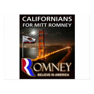 Californians for Mitt Romney 2012 Postcard