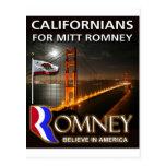 Californians para Mitt Romney Tarjetas Postales
