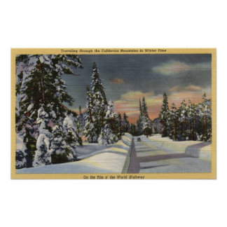CaliforniaRim o' the World Highway in Winter Poster