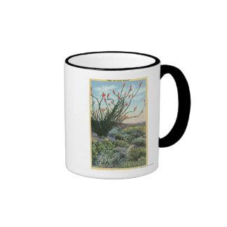CaliforniaView de cactus en la floración Taza De Café