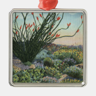 CaliforniaView of Cacti in Bloom Christmas Ornament