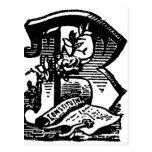 Caligrafía antigua que pone letras a la letra masó tarjetas postales