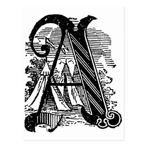 Caligrafía antigua que pone letras a la letra tarjeta postal