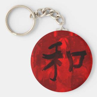 Caligrafía china - armonía llavero redondo tipo pin
