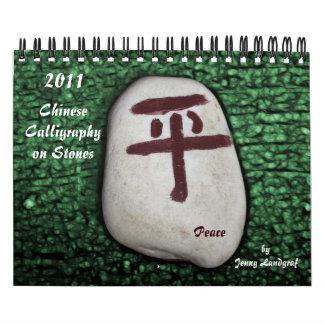 Caligrafía china en calendario de las piedras