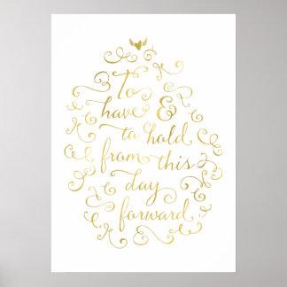 Caligrafía de la hoja de oro de los votos de boda póster