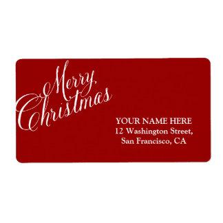 Caligrafía de las Felices Navidad Etiqueta De Envío