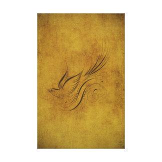 Caligrafía del pájaro del vintage en el oro impresión en lienzo estirada