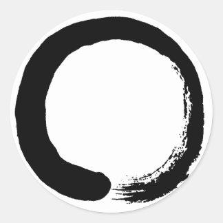 Caligrafía del zen del círculo de Enso Pegatina Redonda