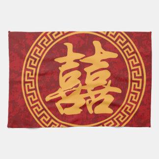 Caligrafía doble china de la felicidad enmarcada toalla de cocina