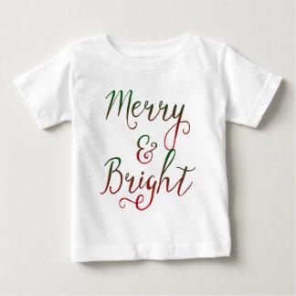 Caligrafía feliz y brillante del navidad playera de bebé