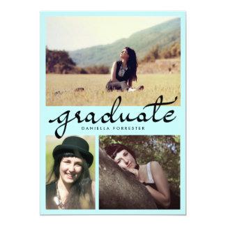 """Caligrafía graduada linda tres fotos azules invitación 5"""" x 7"""""""