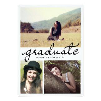"""Caligrafía graduada linda tres fotos invitación 5"""" x 7"""""""