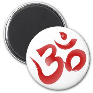 Caligrafía hindú roja de OM Aum Devanagari del sím Imán Redondo 5 Cm
