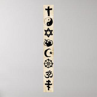 Caligrafía importante de los símbolos de la religi poster