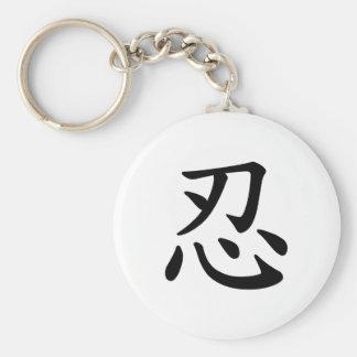 Caligrafía japonesa y china del 忍 de Ninja - Llavero Personalizado