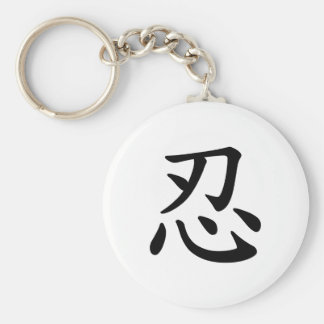Caligrafía japonesa y china del 忍 de Ninja - Llavero Redondo Tipo Pin