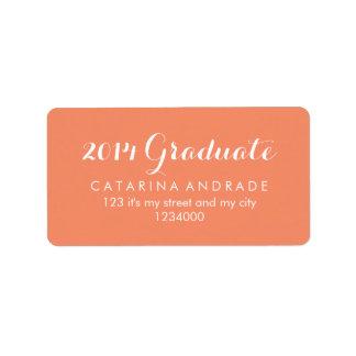 Caligrafía moderna coralina graduada de la graduac etiquetas de dirección