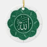 Caligrafía musulmán árabe que dice a Alá Adorno De Navidad