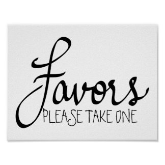 Caligrafía simple del boda moderno de los favores póster