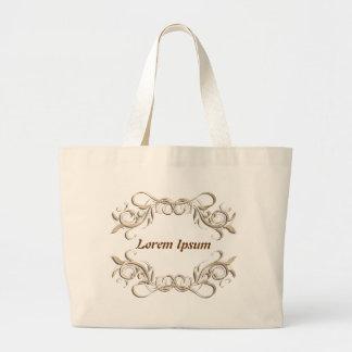caligraphic background frame, label. bag