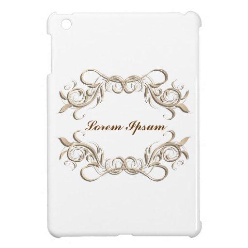 caligraphic background frame, label. iPad mini case