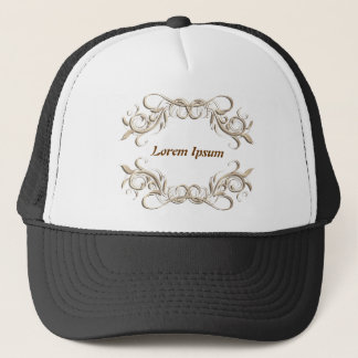caligraphic background frame, label. trucker hat