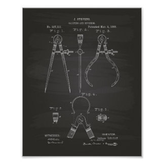 Calipers And Dividers 1886 Patent Art Chalkboard Poster