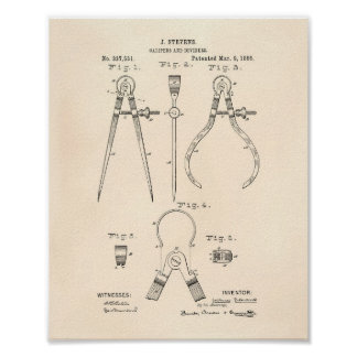 Calipers And Dividers 1886 Patent Art Old Peper Poster