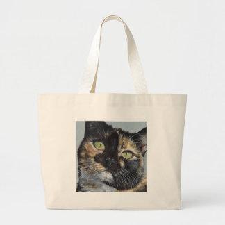 Cali's Stare Tortie Tortoiseshell Cat Painting Art Large Tote Bag
