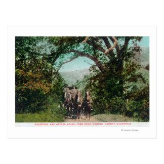 Calistoga y diligencia del géiser en el camino de tarjetas postales