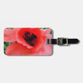 Cáliz rojo de flor de amapola etiquetas de maletas