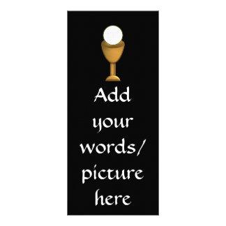 Cáliz y anfitrión de oro - comunión santa diseño de tarjeta publicitaria