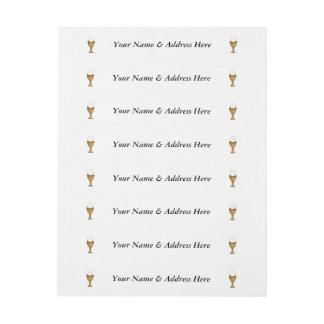 Cáliz y anfitrión de oro - comunión santa etiquetas postales